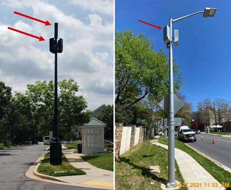 Pictures of Small Cell antennas in Montgomery County