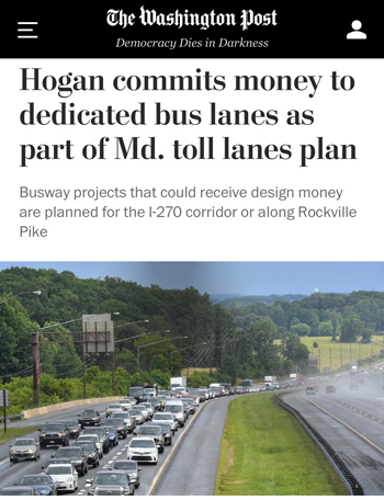 Screenshot of Washington Post Article on Governor Hogan committing to build bus lanes in Montgomery County